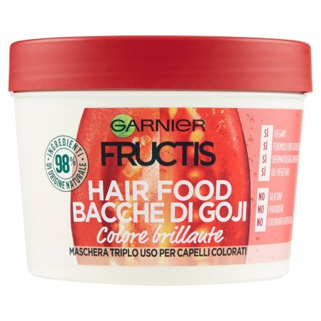 Garnier - Fructis Hair Food Bacche di Goji Maschera Nutriente 3 in 1 con Formula Vegana per Capelli Colorati 390ML